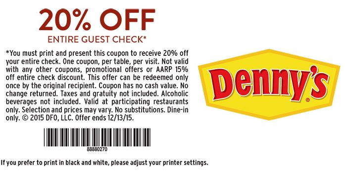 graphic regarding Dennys Printable Coupons known as Dennys - Printable Discount codes, Promo Codes - Web site 2