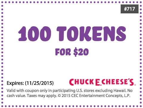 Chuck e cheese coupon codes november 2018