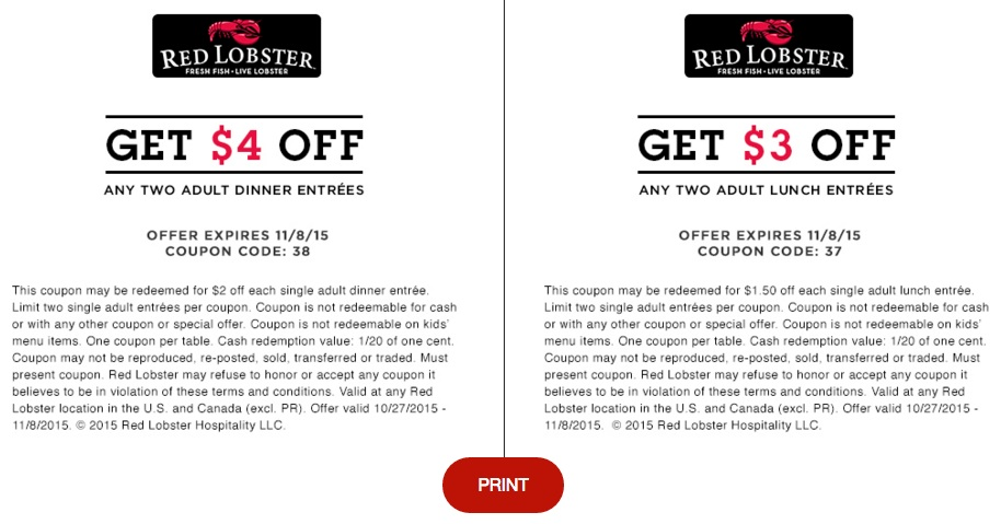 Red Lobster - Printable Coupons, Promo Codes