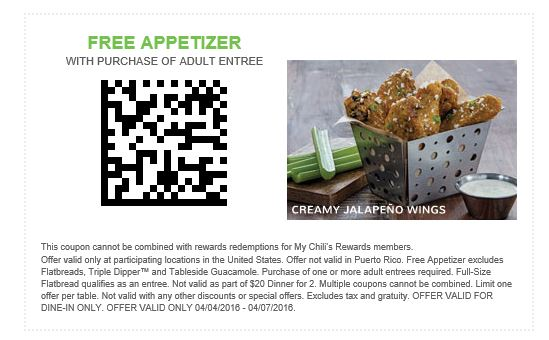 Print Coupon And Receive A Free Appetizer With Any Adult Entree Purchase.  Coupon Expiration Date: April 7, 2016