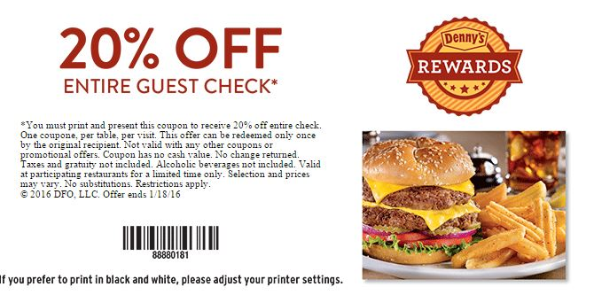 Denny's senior discount coupon