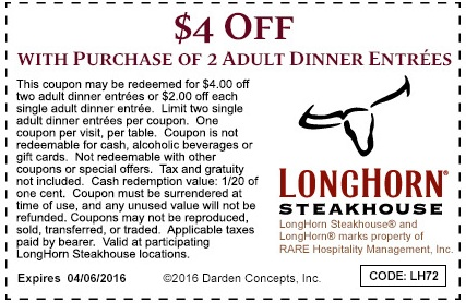 image regarding Longhorn Steakhouse Printable Coupons named LongHorn Steakhouse - Printable Discount codes, Promo Codes