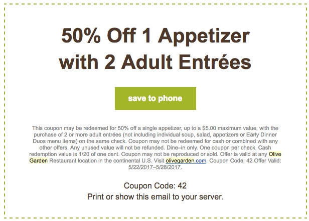 Olive Garden Coupons 2017