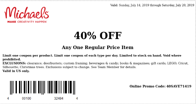 Michaels 40% Off Any One Regular Price Item - Expires July 18, 2019